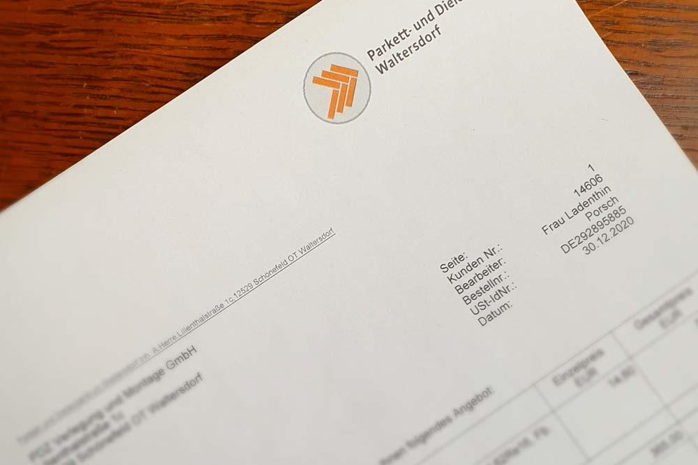 Briefbogen Parkett- und Dielenzentrum Waltersdorf